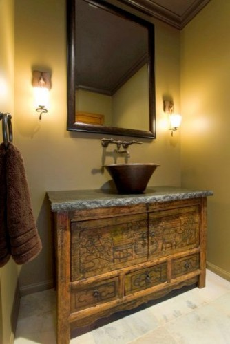 Rustic powder room asian powder room
