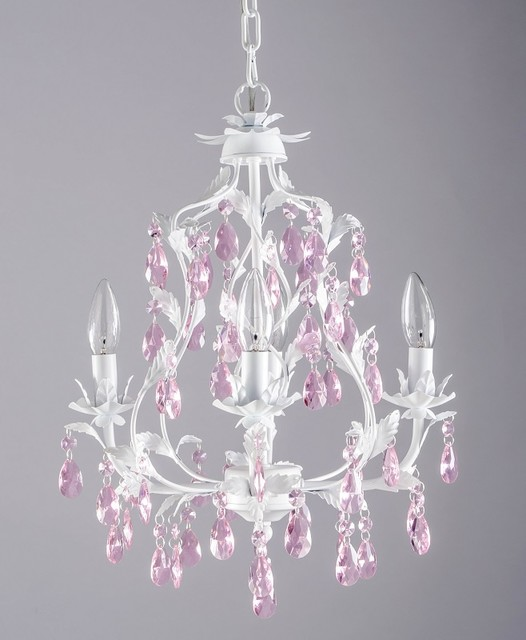 isabella 4 arm crystal chandelier in white with pink