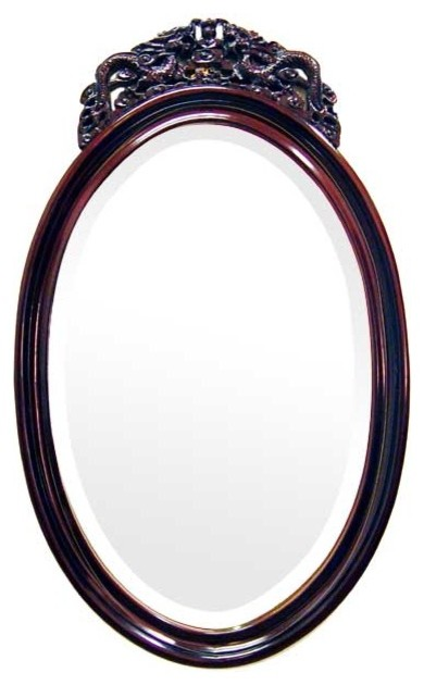 Rosewood Dragon Crown Oval Mirror asian-wall-mirrors