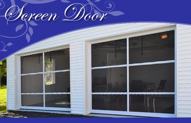 Garage door sliding screen screen doors other metro for Sliding garage door screen