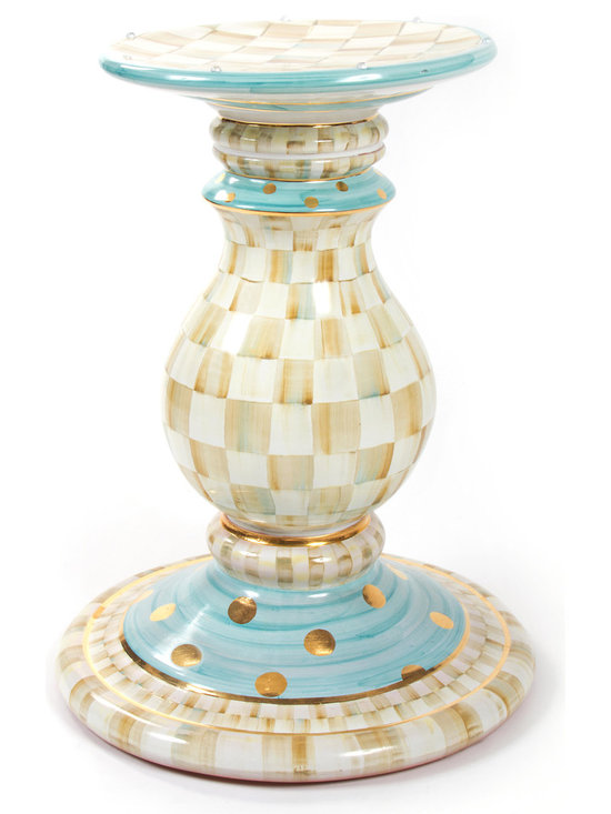 Parchment Check Pedestal Table Base | MacKenzie-Childs - Set a foundation for fun with our handcrafted ceramic Parchment Check™ Pedestal Table Base. Handsome curves and vibrant patterns, hand-painted by our master artisans, present our timeless Parchment Check™ design. Color-dragged checks blend parchment, taupe, gold, and aqua. Lustred gold accents. Handcrafted terra cotta, hand-painted and kiln-fired four times by our artisans in Aurora.