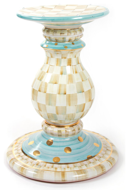 Parchment check pedestal table base mackenzie childs eclectic table tops and bases other - Ceramic pedestal table base ...