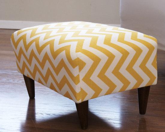 Retro Chevron Foot-Stool - Environmentally friendly upcycled, retro chevron foot-stool in mustard yellow and white.
