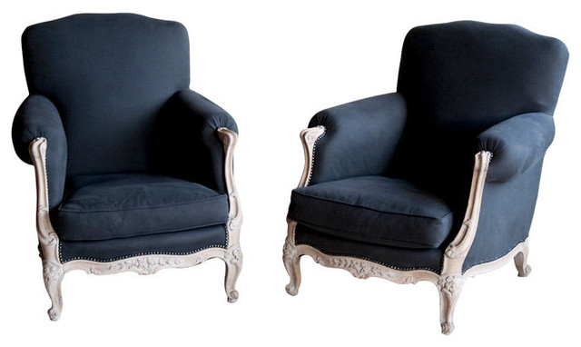 Pair antique french reupholstered berg re chairs for Reupholstered chairs for sale
