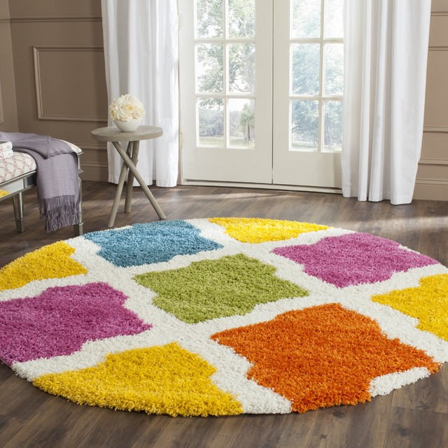 Safavieh kids shag ivory multi rug 6 39 7 round for Round rugs for kids
