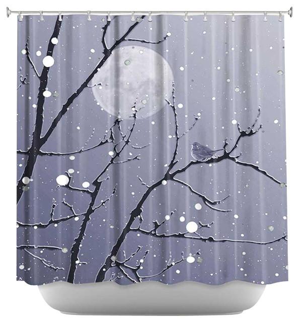 shower curtain artistic snowbird blue grey