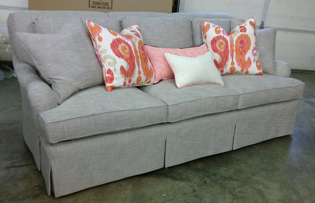'Beau' English Arm Rolled Back Sofa With Waterfall Skirt