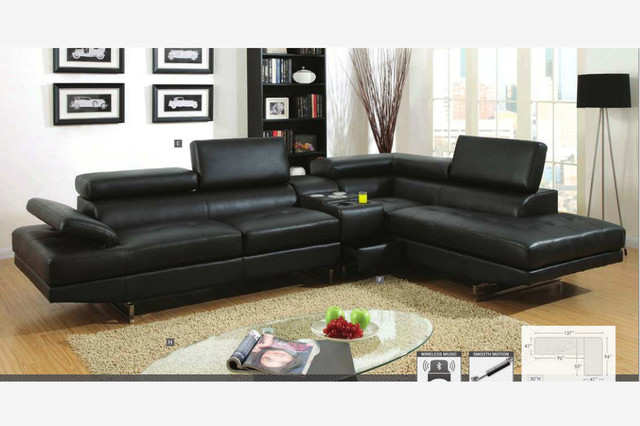 Modern Black Leather Sectional Sofa Couch Console