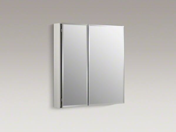"KOHLER 25"" W x 26"" H aluminum two-door medicine cabinet with mirrored doors, bev - Contemporary ..."