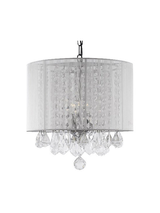 """The Gallery - Crystal Chandelier With White Shade - 100% crystal chandelier. A Great European Tradition. Nothing is quite as elegant as the fine crystal chandeliers that gave sparkle to brilliant evenings at palaces and manor houses across Europe. This beautiful chandelier has 3 Lights and is decorated and draped with 100% crystal that captures and reflects the light of the candle bulbs. This wonderful chandelier also comes with the large shade as shown. The timeless elegance of this chandelier is sure to lend a special atmosphere anywhere its placed! Assembly required, shades included. Size: H 15"""" x W 15"""", 3 Lights."""