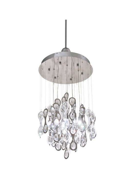 DVI Lighting - Borealis Pendant - Borealis Pendant features Crystals with a Chrome finish. Available in small and large sizes. 40 watt, 120 volt JCD type G9 base halogen bulbs are required, but not included. Small: 18 inch width x 38 inch height x 75 inch length. Large: 24 inch width x 44 inch height x 86 inch length.