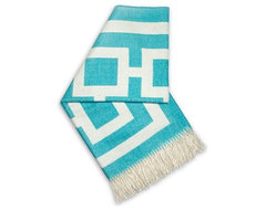 Jonathan Adler Nixon Turquiose Throw Blanket modern throws