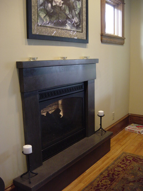 Poured Concrete Fireplace Mantle traditional-living-room
