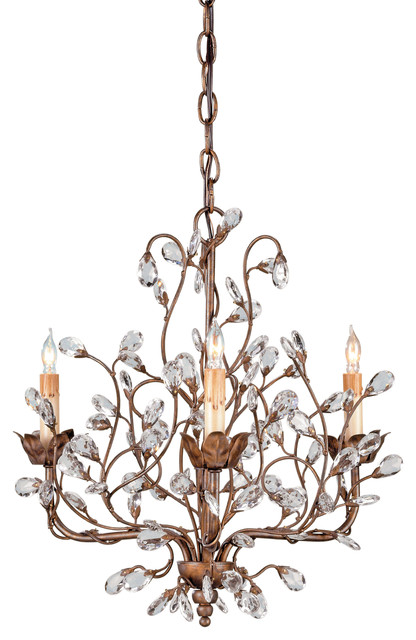 Currey Co 9883 Crystal Bud Cupertino 3 Light Chandelier Rustic Chan