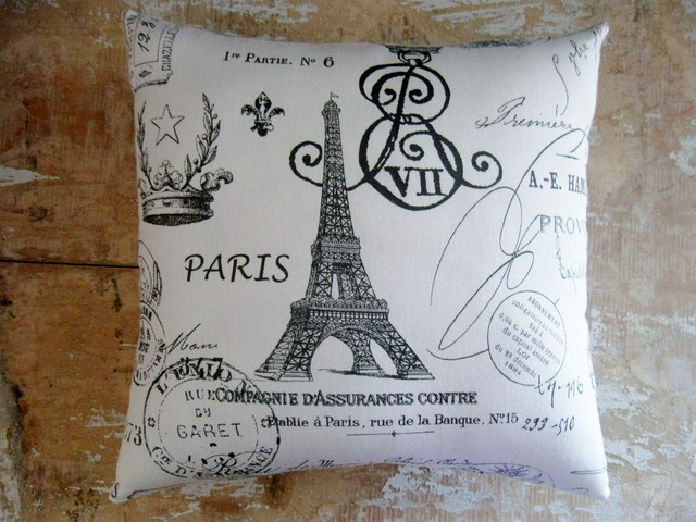 French Country Pillow, French Decor, Eiffel Tower, Paris, Cottage