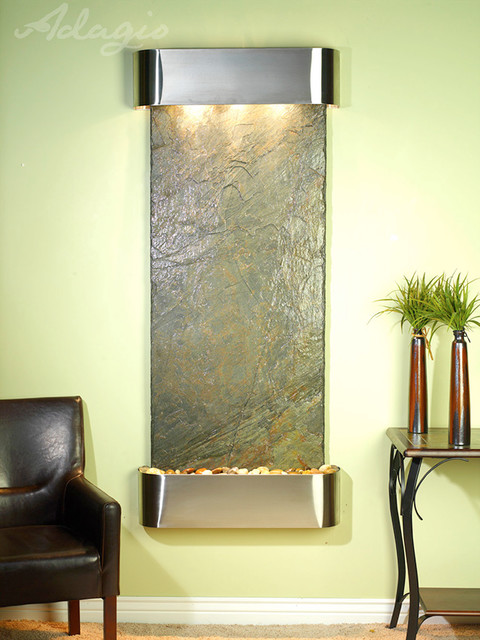slate wall mounted water features the inspiration falls with green slate contemporary. Black Bedroom Furniture Sets. Home Design Ideas