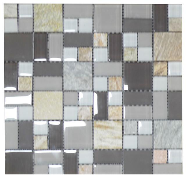 W09 Grey Mist Quartzstone Modular Glass Mosaic