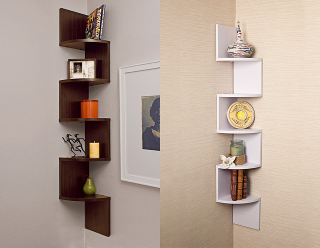 Laminated Veneer Corner Wall Mount Shelf - Contemporary - Wall ...