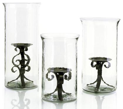"John Richard 12x7.75""Dia Wavy Gls/Iron Candleholder contemporary-candleholders"