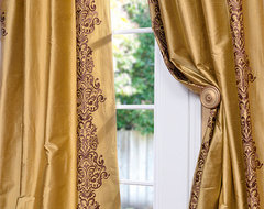 Rowena Gold Dust Silk Curtain traditional-curtains