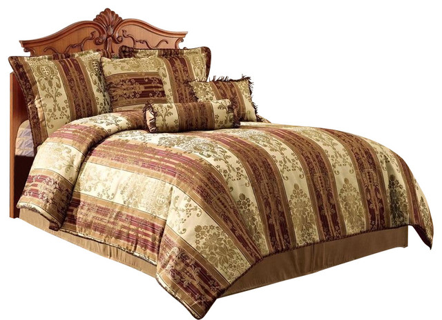 vintage stripe down alternative comforter set brown california king traditional comforters. Black Bedroom Furniture Sets. Home Design Ideas