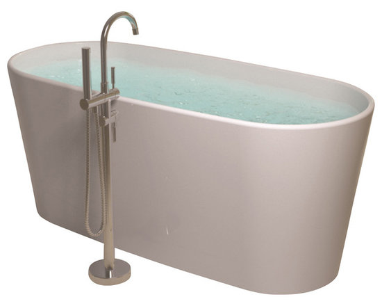 ADM - ADM White Stand Alone Solid Surface Stone Resin Bathtub, Glossy - SW-102