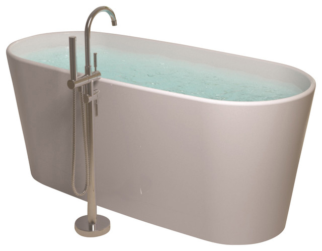Stand Alone Bathtubs : ADM White Stand Alone Solid Surface Stone Resin Bathtub, Glossy ...