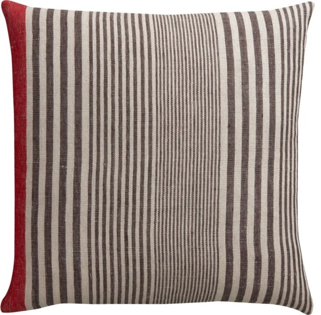 Linen Stripe with Red Pillow modern pillows