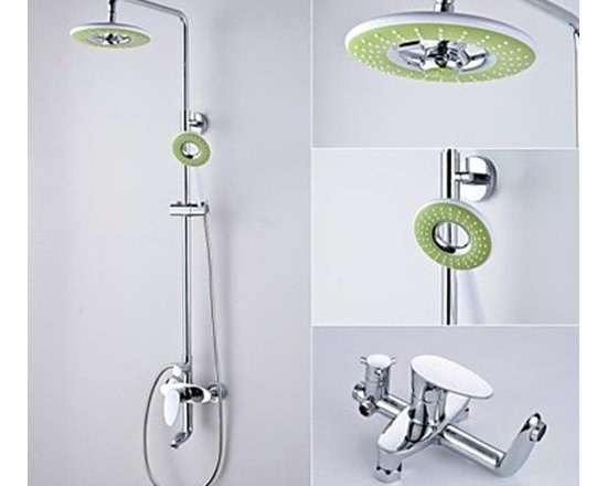 Shower Faucets - Contemporary Chrome Finish Brass Shower Faucet with 8 Inch Fashion Shower Head-- FaucetSuperDeal.com