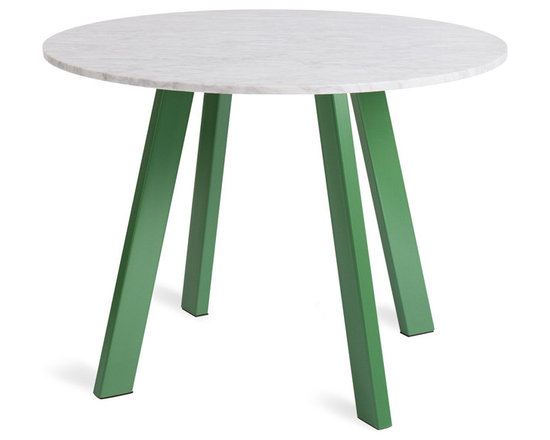 "Blu Dot - Right Round 42"" Marble Dining Table - Four powder-coated steel legs provide a sculptural and sturdy base for a honed marble top. An easy companion to any chair, the design holds its own in the dining room, office or entryway. Legs available in either matte grass green or matte black."