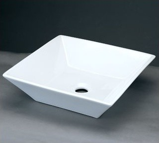 Square Ceramic Vessel Sink without Overflow in White modern-bathroom-sinks