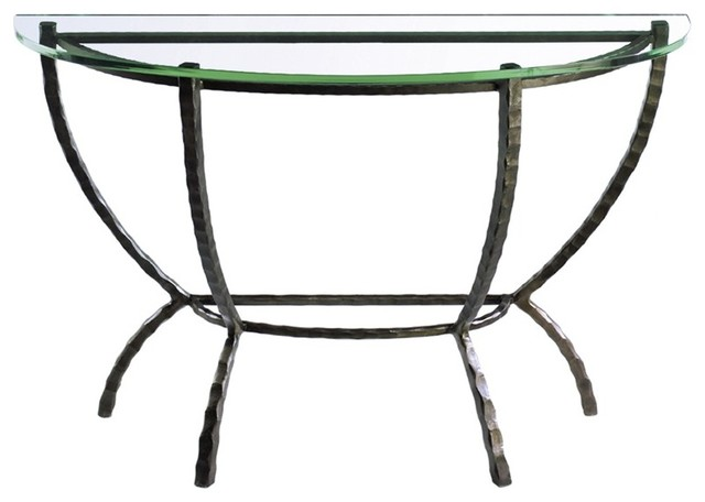 Hudson demi lune console by charleston forge eclectic for Table demi lune fer forge