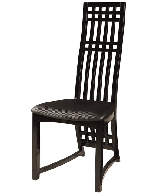 Margaret high back lacquer side chair in black set of 2 for Modern high back dining chairs