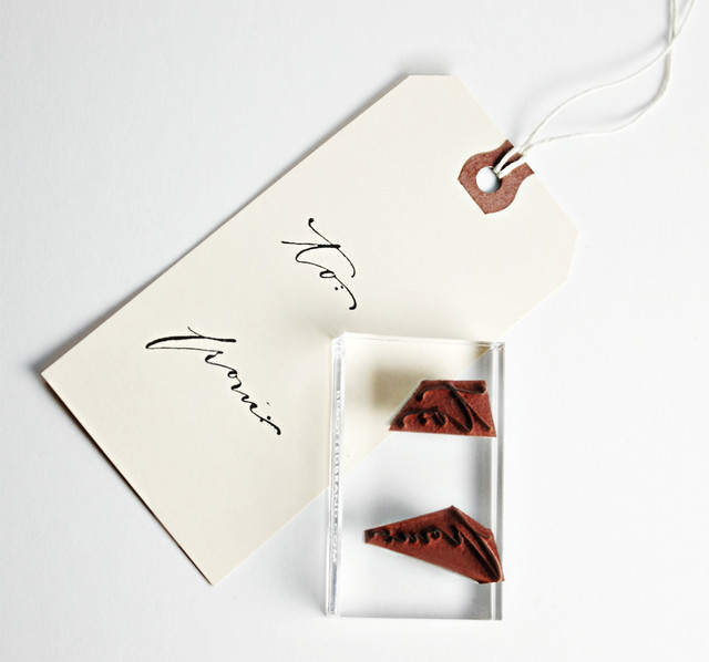 """Hand Lettered """"To From"""" Hand Stamp traditional-desk-accessories"""