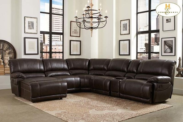 6 Pc Nicole Espresso Bonded Leather Sectional Sofa With Recliners ...