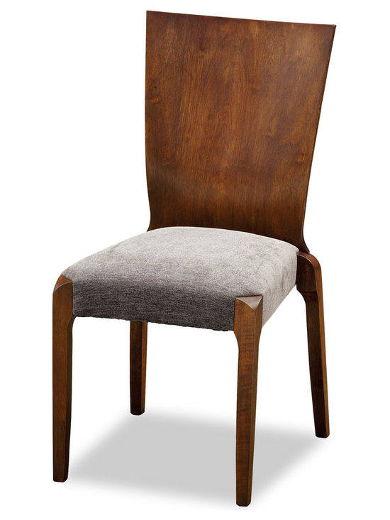 Bryght - Kimberly Fabric Upholstered Dining Chair - The Kimberly stackable dining chair with its beautiful cocoa stained one-piece back panel and padded seating offers you the luxury of space saving with style. The slightly curved backrest makes the Kimberly dining chair ideal for longer sittings or every day use.