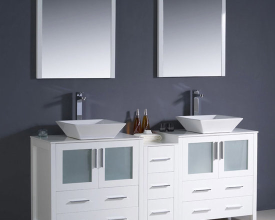 Fresca - Fresca Torino 72 White Double Bathroom Vanity, Cabinet & Vessel Sinks - Featuring frosted glass panels and a White finish, the Torino 72 vanity from Fresca will make a stylish yet highly practical addition to any bathroom. Incorporating plenty of storage space for toiletries and bathroom linen, this durable vanity with side cabinet comes complete with the ceramic vessel sinks, which create a chic, spa-style look. Torino Bathroom Vanity Details:   Dimensions: Vanity: 72W x 18 1/8D x 35 5/8H; Side Cabinet: W 12 x D 17.75 x H 28.13 Material: Plywood with Veneer, ceramic vessel sink Finish: White Please note: faucets not included