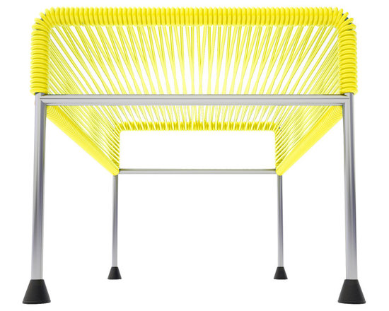 Adam Ottoman, Chrome Frame With Yellow Weave - Sleek woven vinyl makes this coffee table stand out from the crowd. It's a great option for indoor and outdoor entertaining since the vinyl is UV protected and the metal base is galvanized. The only challenge would be deciding on your favorite color top to pair with the sleek chrome base.