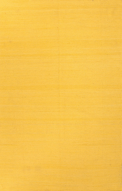 Flat Weave Solid Pattern Wool Yellow Gold Area Rug 5 X 8