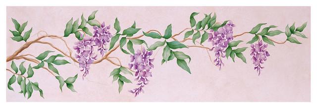 Geo Flower Stencils : Wisteria floral vine stencil tropical wall stencils