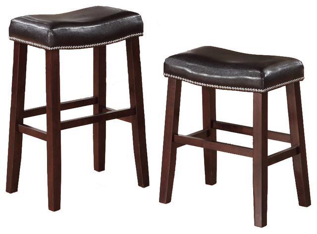 2 Barstools Faux Leather Saddle Nailhead Trim Dark Cherry
