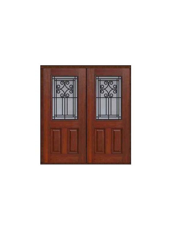 "Prehung Double Door 80 Fiberglass Novara 2 Panel 1/2 Lite GBG Glass - SKU#    MCT012WN_DFHNG2Brand    GlassCraftDoor Type    ExteriorManufacturer Collection    1/2 Lite Entry DoorsDoor Model    NovaraDoor Material    FiberglassWoodgrain    Veneer    Price    2910Door Size Options    2(32"")[5'-4""]  $02(36"")[6'-0""]  $0Core Type    Door Style    Door Lite Style    1/2 LiteDoor Panel Style    2 PanelHome Style Matching    Door Construction    Prehanging Options    PrehungPrehung Configuration    Double DoorDoor Thickness (Inches)    1.75Glass Thickness (Inches)    Glass Type    Double GlazedGlass Caming    Glass Features    Tempered glassGlass Style    Glass Texture    Glass Obscurity    Door Features    Door Approvals    Energy Star , TCEQ , Wind-load Rated , AMD , NFRC-IG , IRC , NFRC-Safety GlassDoor Finishes    Door Accessories    Weight (lbs)    603Crating Size    25"" (w)x 108"" (l)x 52"" (h)Lead Time    Slab Doors: 7 Business DaysPrehung:14 Business DaysPrefinished, PreHung:21 Business DaysWarranty    Five (5) years limited warranty for the Fiberglass FinishThree (3) years limited warranty for MasterGrain Door Panel"