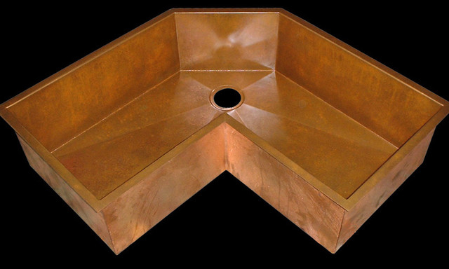 The Perfect corner sink in Copper by Rachiele  kitchen sinks