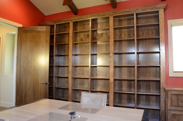 Home office library hidden door mediterranean-home-office