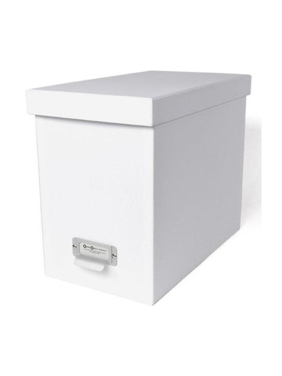 Bigso - Bigso Basix Desktop File Box - White - A file box with color and style? We're sold. Snag one (two or three) of our white Basix Desktop File Box's to whip your desk into shape. Please just pay for them first. Accomodates letter size hanging files, sold seperately. Metal label holders remind you of what's stored inside; pull tabs help you pull them from the shelf.