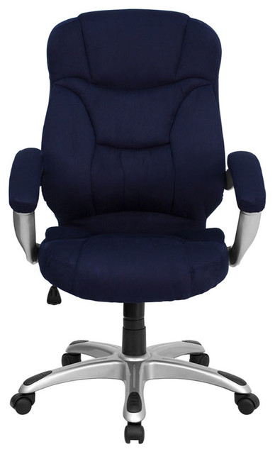 Blue microfiber upholstered contemporary office chair contemporary