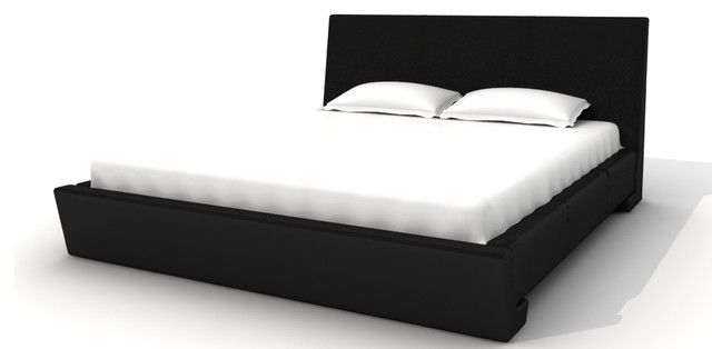 Sammy Bed, Black Eco-Leather, Cal King contemporary-beds