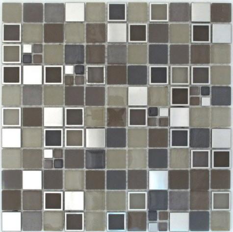 Cubix glass metal mosaics modern-tile