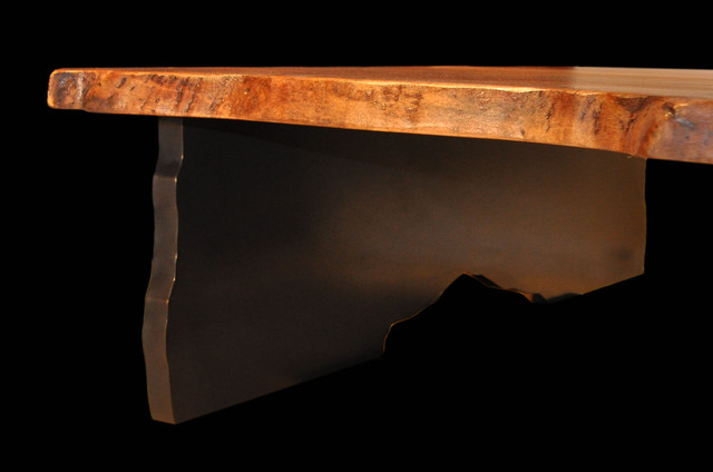 Book-matched Walnut Slab Table with Bronze Tree Legs contemporary-coffee-tables