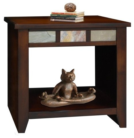 Legends Fire Creek Rectangle Danish Cherry Wood End Table modern-indoor-pub-and-bistro-tables